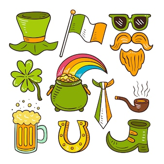 Set van hand getrokken groene objecten en levensmiddelen voor st. patrick's dag