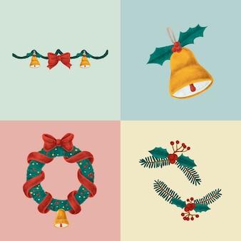 Set van hand getrokken illustraties van kerstmis
