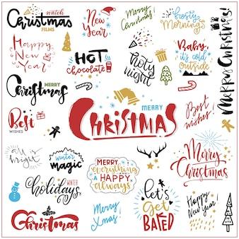 Set van hand getrokken kerst citaten