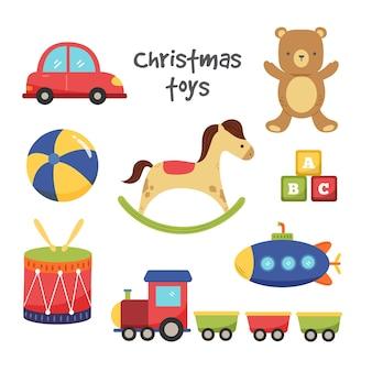 Set van hand getrokken kleurrijke kerst speelgoed