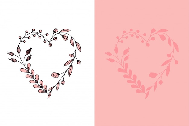 Set van hand getrokken krans harten met gestileerde bloemen