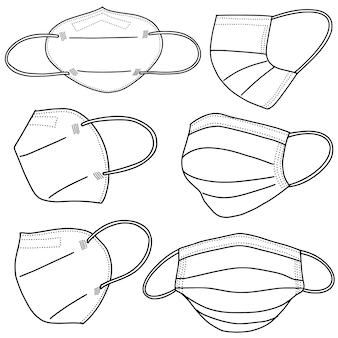 Set van hand getrokken medische masker geïsoleerd op een witte achtergrond, corona bescherming. vector illustratie.