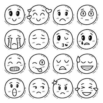 Set van hand getrokken mensen emoji's