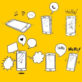 Set van hand getrokken smartphone. smartphone pictogram ontwerpelement.