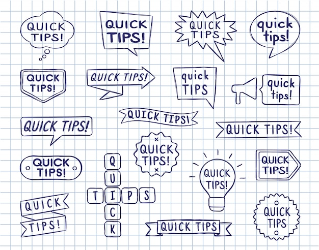 Set van hand getrokken tekstballonnen, badges en linten met snelle tips inscriptie op gelinieerd kopie boekblad.