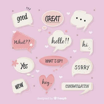 Set van hand getrokken tekstballonnen met verschillende uitdrukkingen