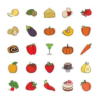 Set van hand getrokken voedsel pictogrammen