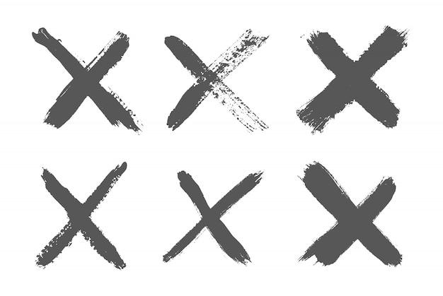 Set van hand getrokken x merken