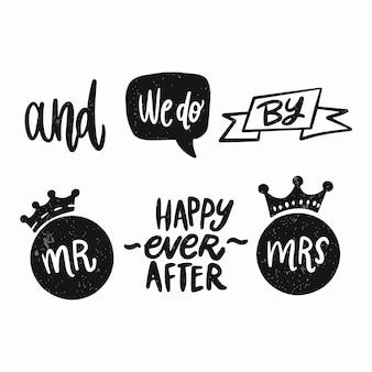 Set van hand letters ampersands en steekwoorden