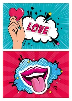 Set van hand met hart en mond pop-art stijl