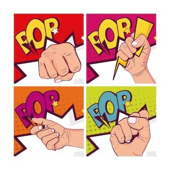 Set van handen dichtgeknepen pop-art