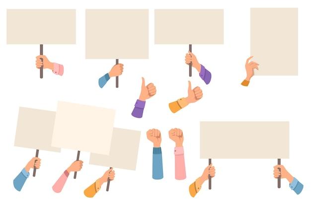 Set van handen met leeg protest teken, plakkaat sjabloon platte vectorillustratie geïsoleerd op een witte achtergrond