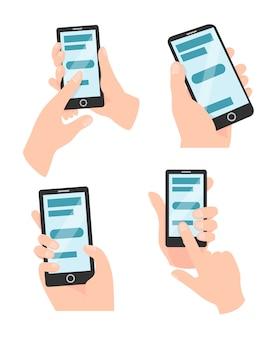 Set van handen met mobiel