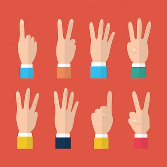 Set van handen met verschillende gebaren