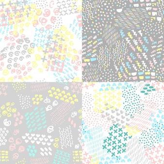 Set van handgeschilderde naadloze patroon vector illustratie
