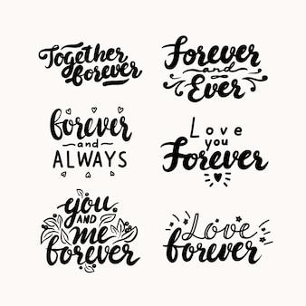 Set van handgeschreven letters voor valentijnsdag kaart of bruiloft uitnodiging. ik hou van jou, voor altijd samen, jij en ik, voor altijd en altijd schrijven met doodle harten en sterren. vectorillustratie