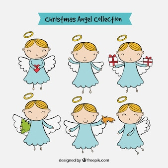 Set van handgetekende engelen