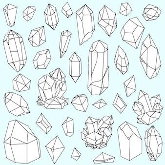 Set van handgetekende lijntekeningen veelhoekige kristallen