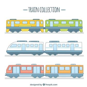Set van handgetekende treinwagons