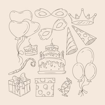 Set van handgetekende verjaardagselementen