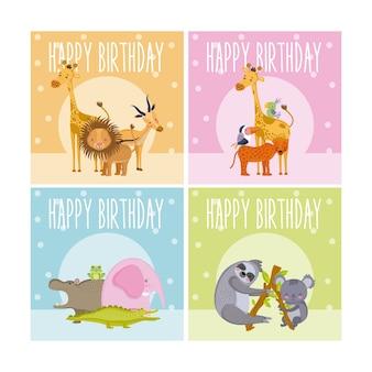 Set van happy birthday dieren kaarten