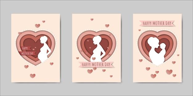 Set van happy mothers day belettering wenskaarten