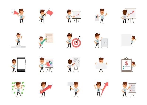 Set van happy office werknemers platte vector iconen