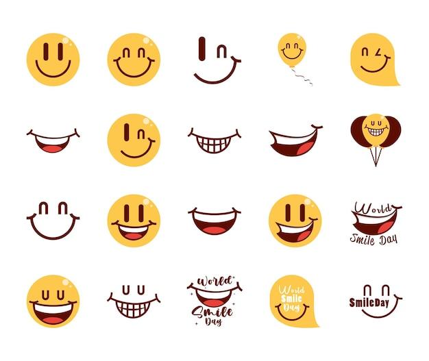Set van happy world smile day