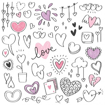 Set van hart vorm doodle geïsoleerd op wit