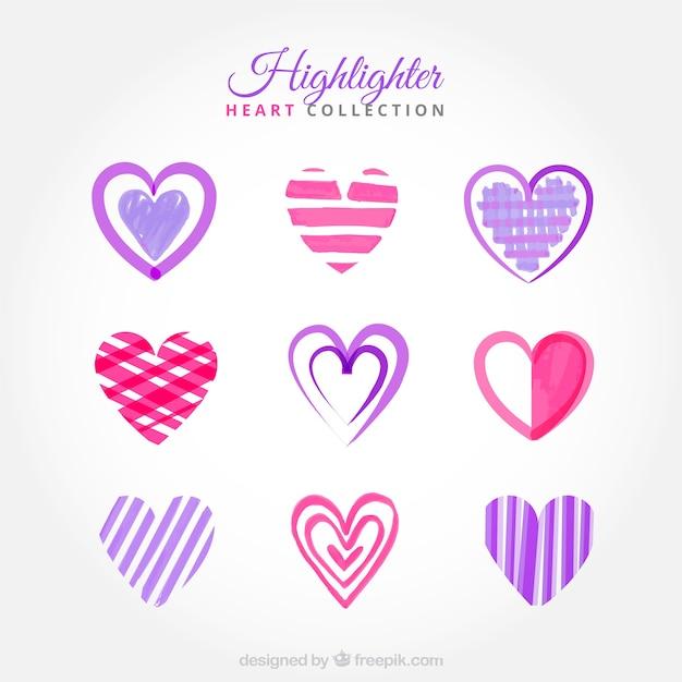Set van harten met doodles gemaakt met highlighter
