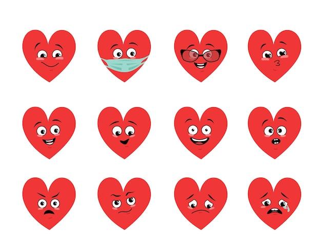 Set van harten met verschillende emoties smile