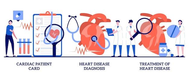 Set van hartpatiëntenkaart, diagnose en behandeling van hartziekten, hartaanval