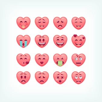 Set van hartvorm emoticons. romantische en valentines smileys, emoji's.
