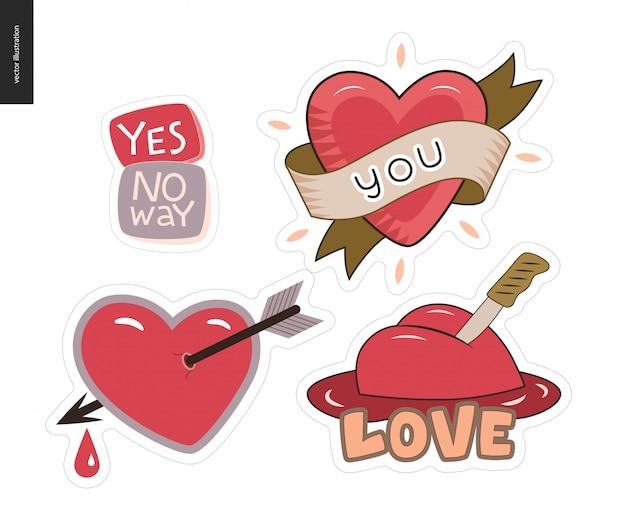 Set van hedendaagse girlie love letter logo