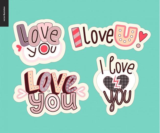 Set van hedendaagse girlie love you letter logo