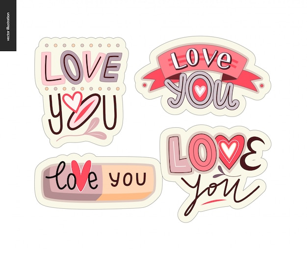 Set van hedendaagse girlie love you letter logo