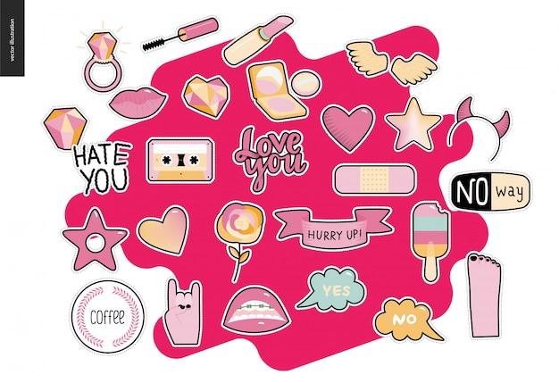 Set van hedendaagse girly patches elementen