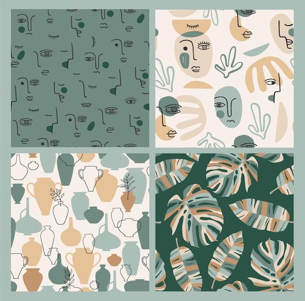 Set van hedendaagse kunst naadloze patronen. lijn kunst.