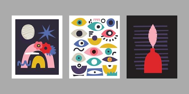 Set van hedendaagse kunst posters. abstracte achtergronden met ogen, bloemen en regenboog