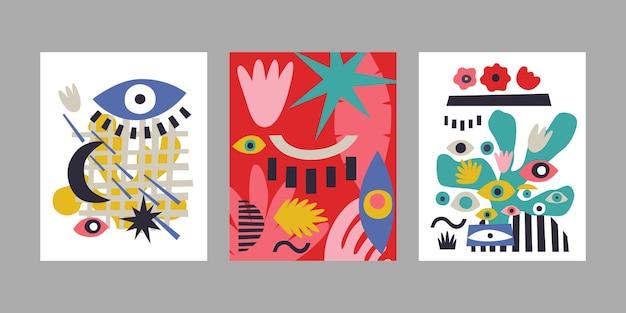 Set van hedendaagse kunst posters. abstracte achtergronden met ogen