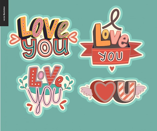 Set van hedendaagse meid love you brief
