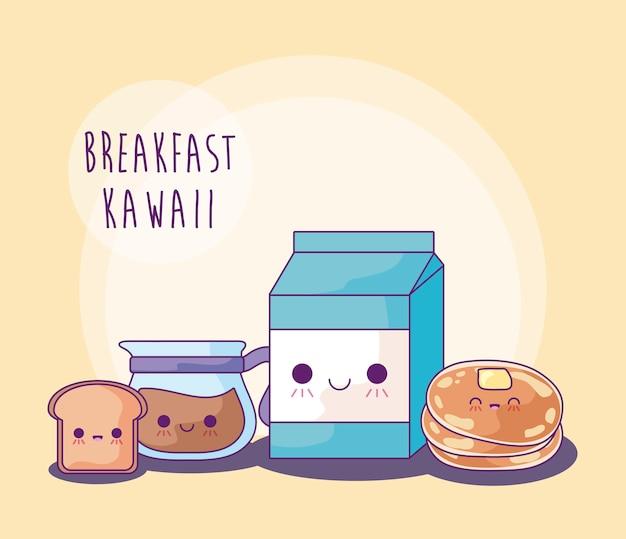 Set van heerlijk eten voor ontbijt kawaii stijl