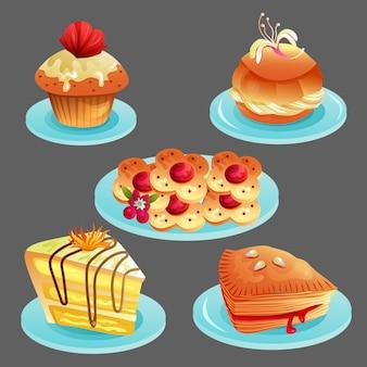 Set van heerlijke bakkerij eten