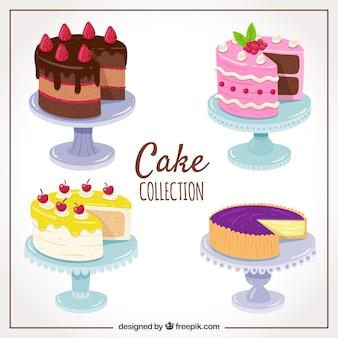 Set van heerlijke cake in de hand getrokken stijl