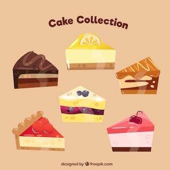 Set van heerlijke cake in vlakke stijl