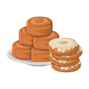 Set van heerlijke en verse bakkerij taarten