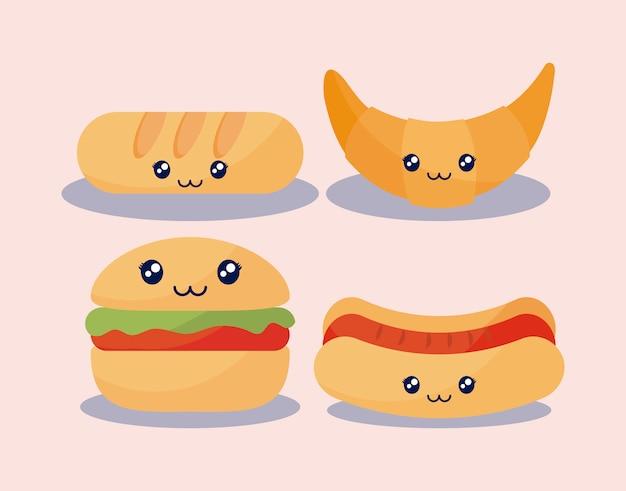 Set van heerlijke hamburger en fastfood kawaii karakter Premium Vector