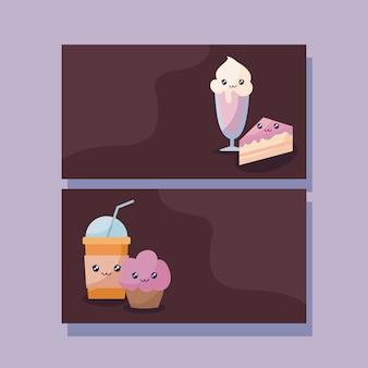 Set van heerlijke ijs en voedsel kawaii karakter