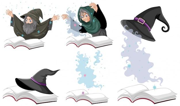 Set van heks of tovenaar magische hoed op het boek geïsoleerd op een witte achtergrond