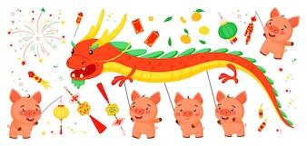 Set van heldere elementen voor het Chinese Nieuwjaar van het varken